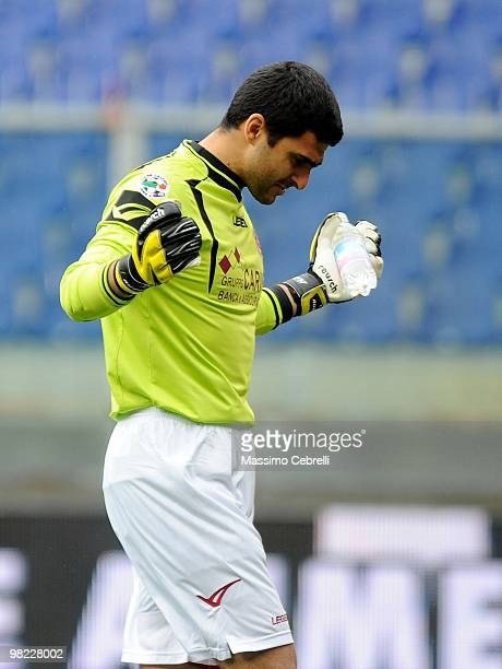 Rubinho of AS Livorno Calcio gestures before the Serie A match between Genoa CFC and AS Livorno Calcio at Stadio Luigi Ferraris on April 3 2010 in...