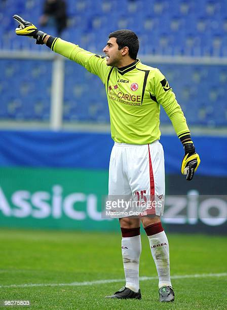 Rubinho of AS Livorno Calcio gestures the Serie A match between Genoa CFC and AS Livorno Calcio at Stadio Luigi Ferraris on April 3 2010 in Genoa...