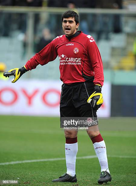 Rubinho of AS Livorno gestures during the Serie A match between ACF Fiorentina and AS Livorno Calcio at Stadio Artemio Franchi on February 21 2010 in...