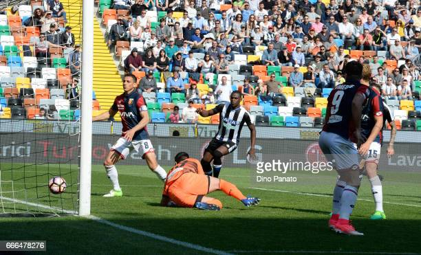 Rubinho of Genoa scores an own goal during the Serie A match between Udinese Calcio and Genoa CFC at Stadio Friuli on April 9 2017 in Udine Italy