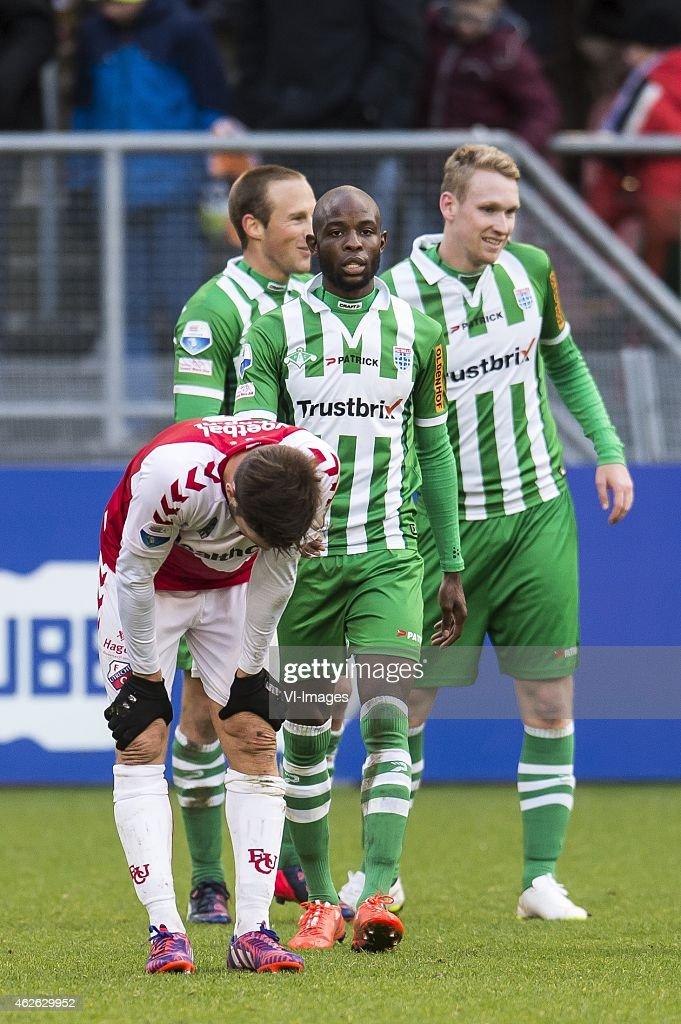 Rubio Ruben of FC Utrecht Bart van Hintum of PEC Zwolle Jody Lukoki of PEC Zwolle Stef Nijland of PEC Zwolle during the Dutch Eredivisie match...