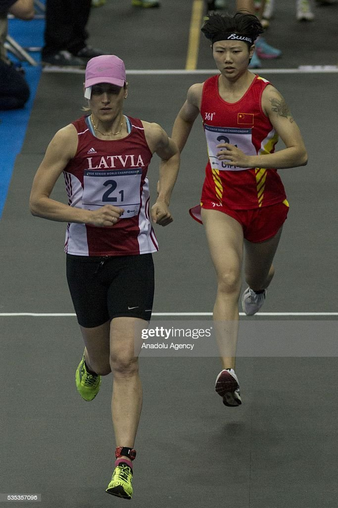 Rublevska Elena from Latvia (L) and Zhang Xiaonan from China competes in the combined event at the mixed relay World Championship in modern pentathlon in Moscow in Olympic Sports Complex in Moscow, Russia, on May 29, 2016.