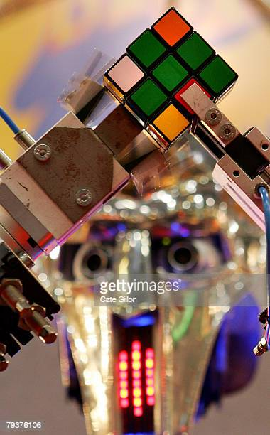 Rubot 2 nicknamed the 'Cubinator' and invented by Peter Redmond works out the Rubiks cube in around 30 seconds on January 30 2008 in London The Toy...