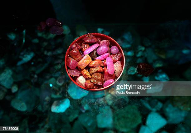 Ruby and Jade are on display at the Archit Fabric and Gem shop in the Bogyoke Aung San market March 3 2007 in Yangon Myanmar With economic sanctions...