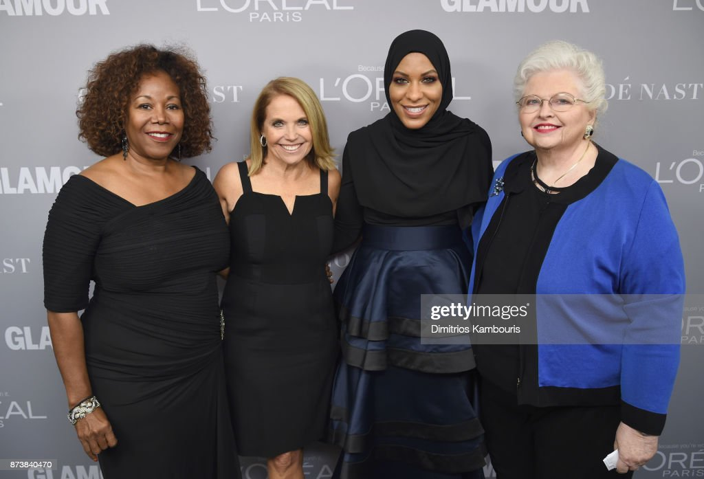 Ruby Bridges, Katie Couric, Ibtihaj Muhammad and Sarah Weddington pose backstage at Glamour's 2017 Women of The Year Awards at Kings Theatre on November 13, 2017 in Brooklyn, New York.