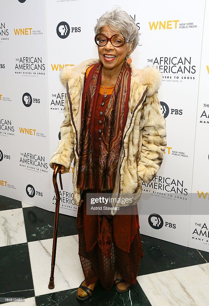 <a gi-track='captionPersonalityLinkClicked' href=/galleries/search?phrase=Ruby+Dee&family=editorial&specificpeople=217744 ng-click='$event.stopPropagation()'>Ruby Dee</a> attends 'The African Americans: Many Rivers to Cross' New York Series Premiere at the Paris Theater on October 16, 2013 in New York City.