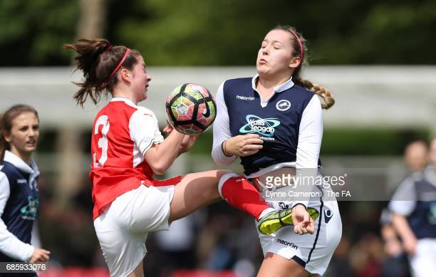 Ruby Grant of Arsenal Ladies and Connie Waring of Millwall Lionesses during the FA Girls' Youth Cup Final between Millwall Lionesses U16 Vs Arsenal...