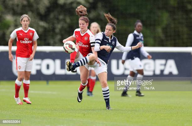 Ruby Grant of Arsenal Ladies and Freya Bailes of Millwall Lionesses during the FA Girls' Youth Cup Final between Millwall Lionesses U16 Vs Arsenal...