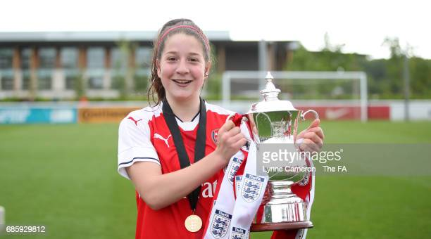Ruby Grant of Arsenal Ladies with the trophy after winning the FA Girls' Youth Cup Final between Millwall Lionesses U16 Vs Arsenal Ladies U16 at St...