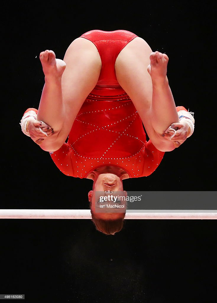 Ruby Harrold of Great Britain competes on the Uneven Bars during day nine of World Artistic Gymnastics Championships at The SSE Hydro on October 31, 2015 in Glasgow, Scotland.