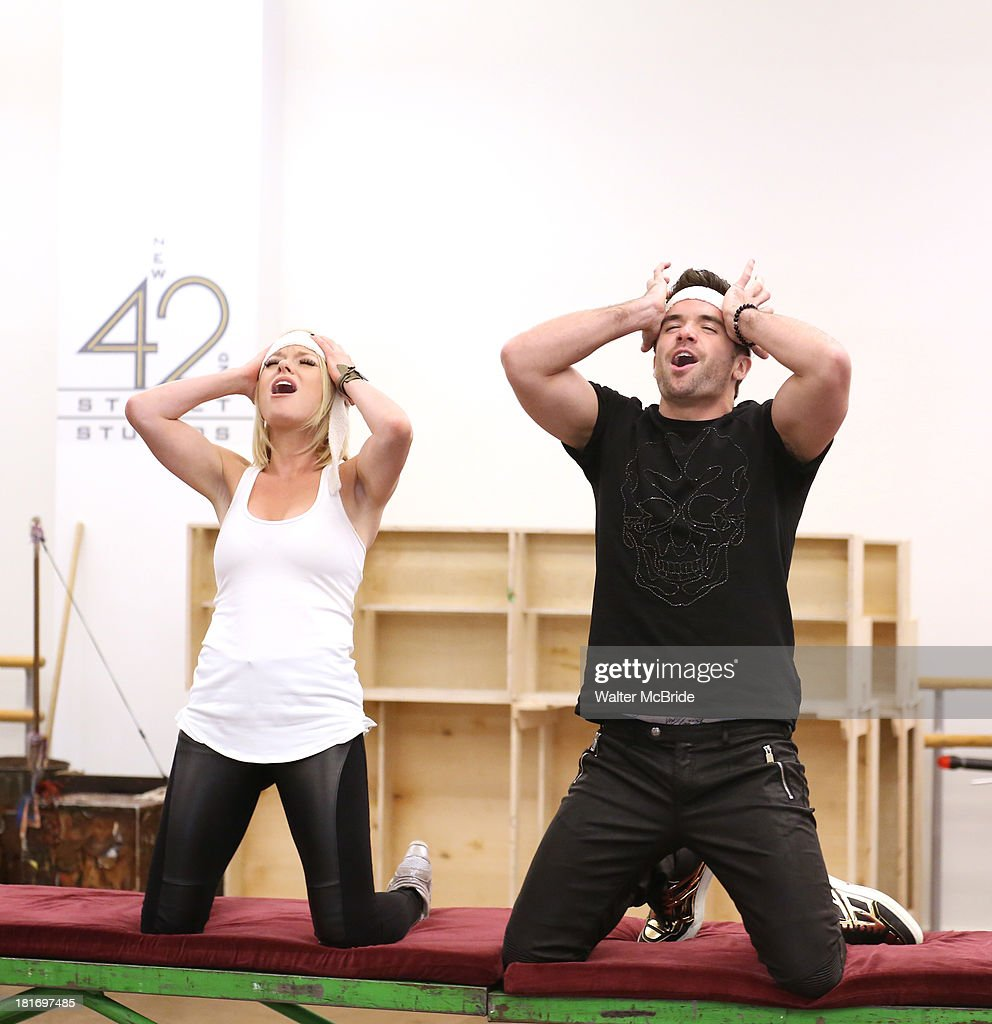 Ruby Lewis and Brian Justin Crum performs at the 'We Will Rock You' North America Tour Rehearsals at The New 42nd Street Studios on September 23, 2013 in New York City.