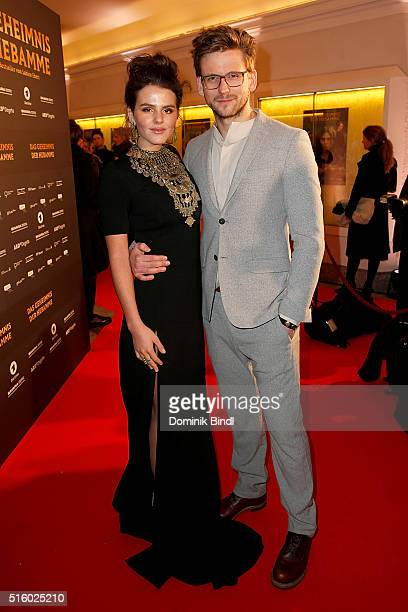 Ruby O Fee and Steve Windolf attend the Premiere of 'Das Geheimnis der Hebamme' at Gloria Palast on March 16 2016 in Munich Germany