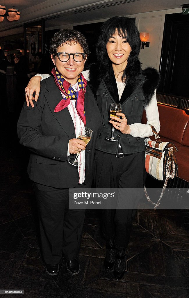 B. Ruby Rich (L) and <a gi-track='captionPersonalityLinkClicked' href=/galleries/search?phrase=Maggie+Cheung&family=editorial&specificpeople=210793 ng-click='$event.stopPropagation()'>Maggie Cheung</a> attend a dinner hosted by online luxury fashion retailer NET-A-PORTER to celebrate designers Jack McCollough and Lazaro Hernandez of Proenza Schouler, and launch their exclusive capsule collection to the site, at 34 Restaurant on March 26, 2013 in London, England.