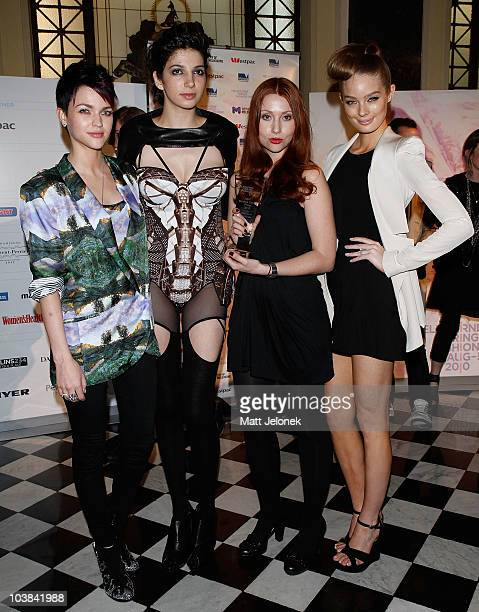 Ruby Rose a model RMIT Designer Award Winner Laura Anderson and Lucy McIntosh at the RMIT Dangerous Goods Runway show as part of Melbourne Spring...