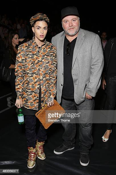 Ruby Rose and Kyle Sandilands attend the Swim show during MercedesBenz Fashion Week Australia 2014 at Carriageworks on April 8 2014 in Sydney...