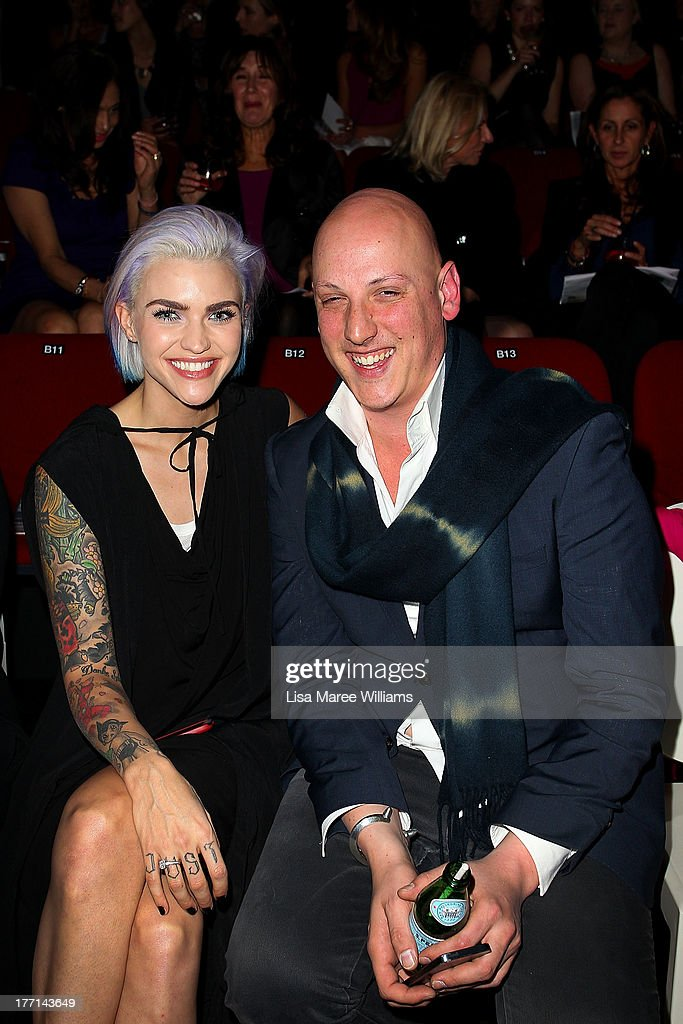 <a gi-track='captionPersonalityLinkClicked' href=/galleries/search?phrase=Ruby+Rose&family=editorial&specificpeople=4864808 ng-click='$event.stopPropagation()'>Ruby Rose</a> and Michael Lo Sordo attend the MBFWA Trends show during Mercedes-Benz Fashion Festival Sydney 2013 at Sydney Town Hall on August 21, 2013 in Sydney, Australia.