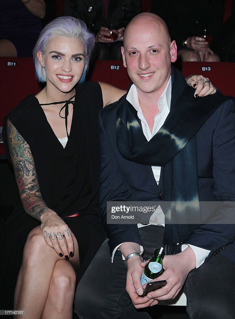 <a gi-track='captionPersonalityLinkClicked' href=/galleries/search?phrase=Ruby+Rose&family=editorial&specificpeople=4864808 ng-click='$event.stopPropagation()'>Ruby Rose</a> and Michael Lo Sordo watch the MBFWA Trends show during Mercedes-Benz Fashion Festival Sydney 2013 at Sydney Town Hall on August 21, 2013 in Sydney, Australia.
