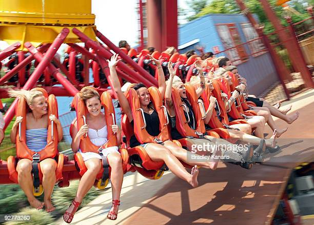 Ruby Rose and park attendees enjoy the ride as she launches Dreamworld's new summer attraction where MTV will broadcast live from the popular theme...