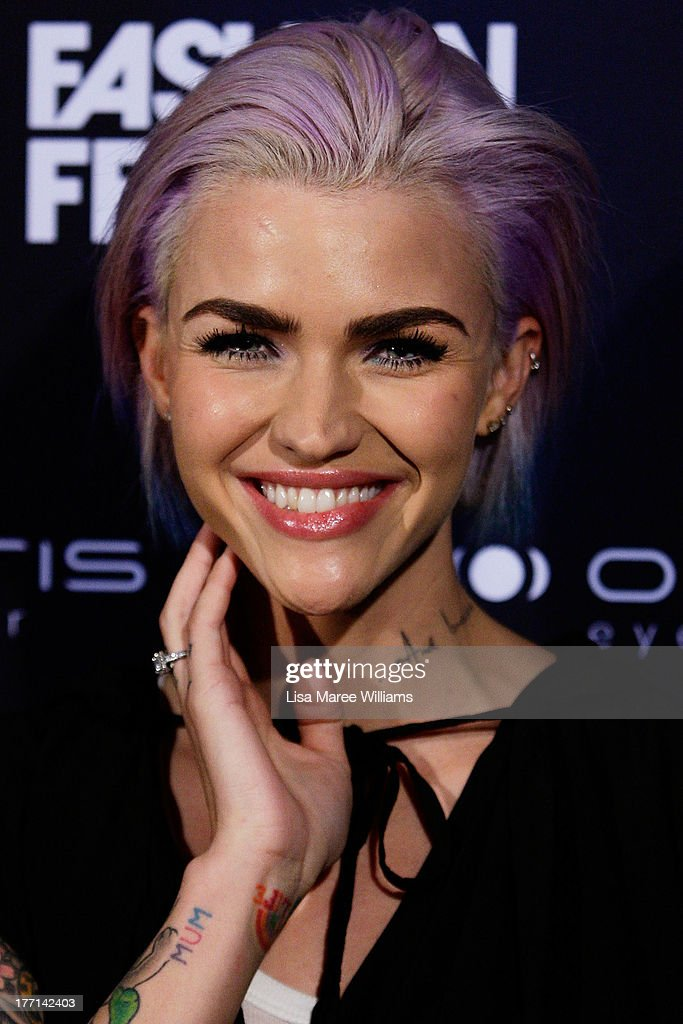 <a gi-track='captionPersonalityLinkClicked' href=/galleries/search?phrase=Ruby+Rose&family=editorial&specificpeople=4864808 ng-click='$event.stopPropagation()'>Ruby Rose</a> arrives at the MBFWA Trends show during Mercedes-Benz Fashion Festival Sydney 2013 at Sydney Town Hall on August 21, 2013 in Sydney, Australia.