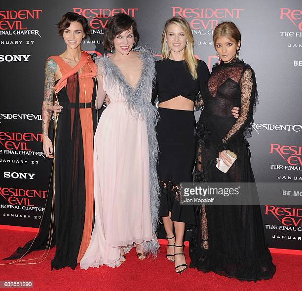 Ruby Rose Milla Jovovich Ali Larter and Rola arrive at the Los Angeles premiere 'Resident Evil The Final Chapter' at Regal LA Live A Barco Innovation...