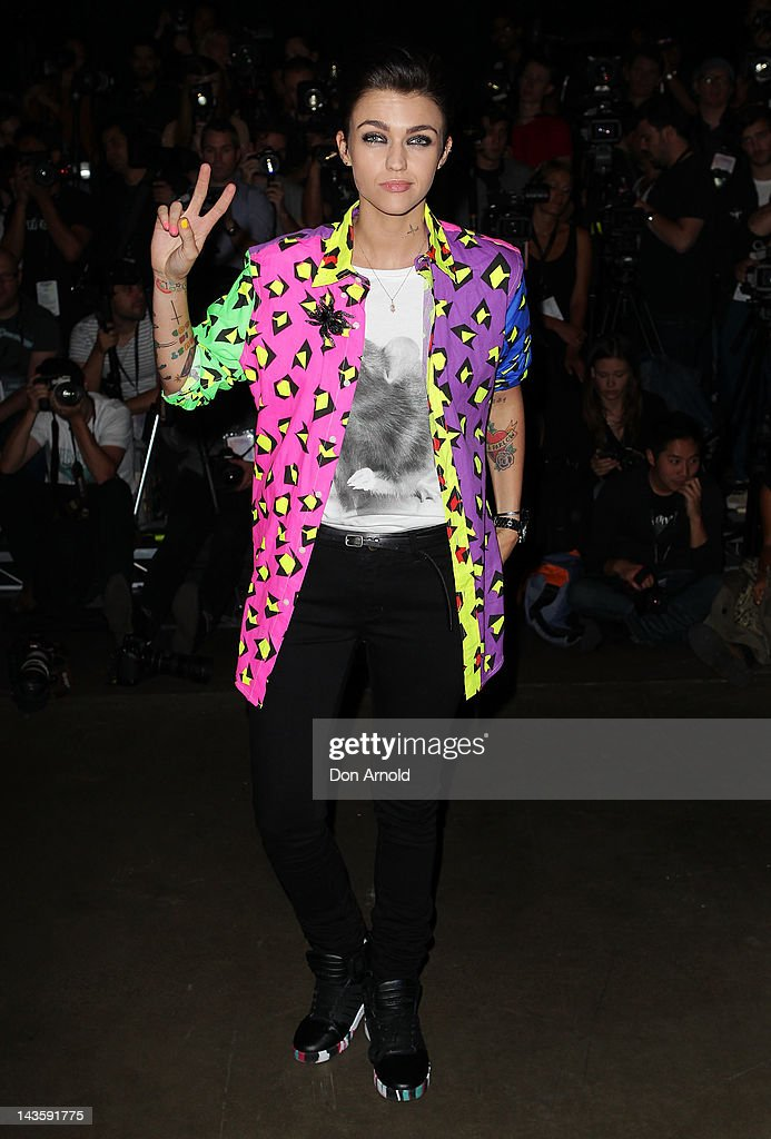 Ruby Rose poses ahead of the Ksubi catwalk show on day one of MercedesBenz Fashion Week Australia Spring/Summer 2012/13 at Overseas Passenger...