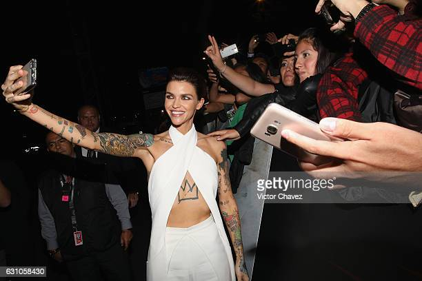 Ruby Rose takes selfies and sings authographs with fans during the Mexico City Premiere of the Paramount Pictures 'xXx Return of Xander Cage' at...