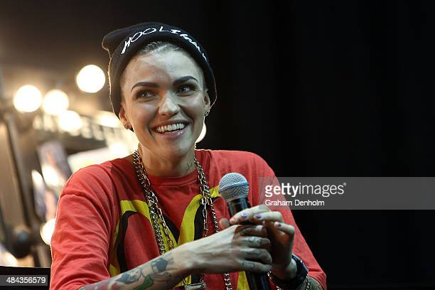 Ruby Rose talks during the Behind the scenes with Maybelline New York style session at MercedesBenz Fashion Week Australia Weekend Edition at...