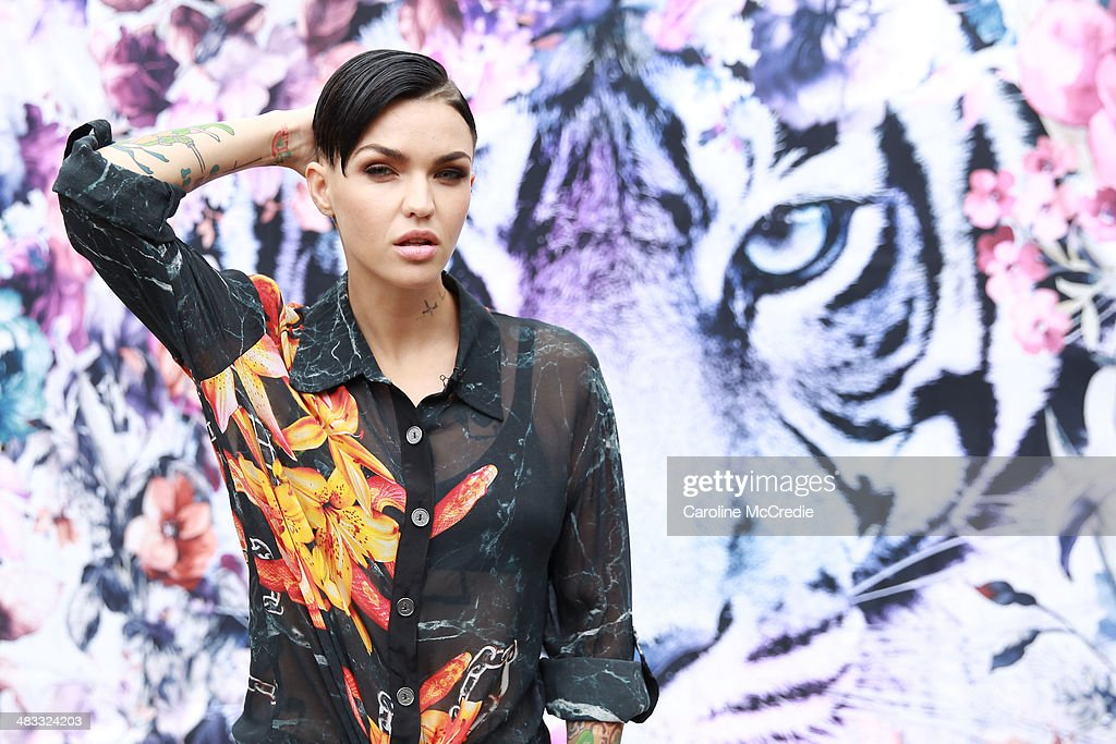 <a gi-track='captionPersonalityLinkClicked' href=/galleries/search?phrase=Ruby+Rose&family=editorial&specificpeople=4864808 ng-click='$event.stopPropagation()'>Ruby Rose</a> wearing a We Are Handsome outfit and Givenchy Birkenstocks at Mercedes-Benz Fashion Week Australia 2014 at Carriageworks on April 8, 2014 in Sydney, Australia.