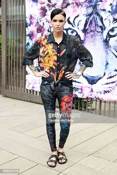 Ruby Rose wearing a We Are Handsome outfit and Givenchy Birkenstocks at MercedesBenz Fashion Week Australia 2014 at Carriageworks on April 8 2014 in...