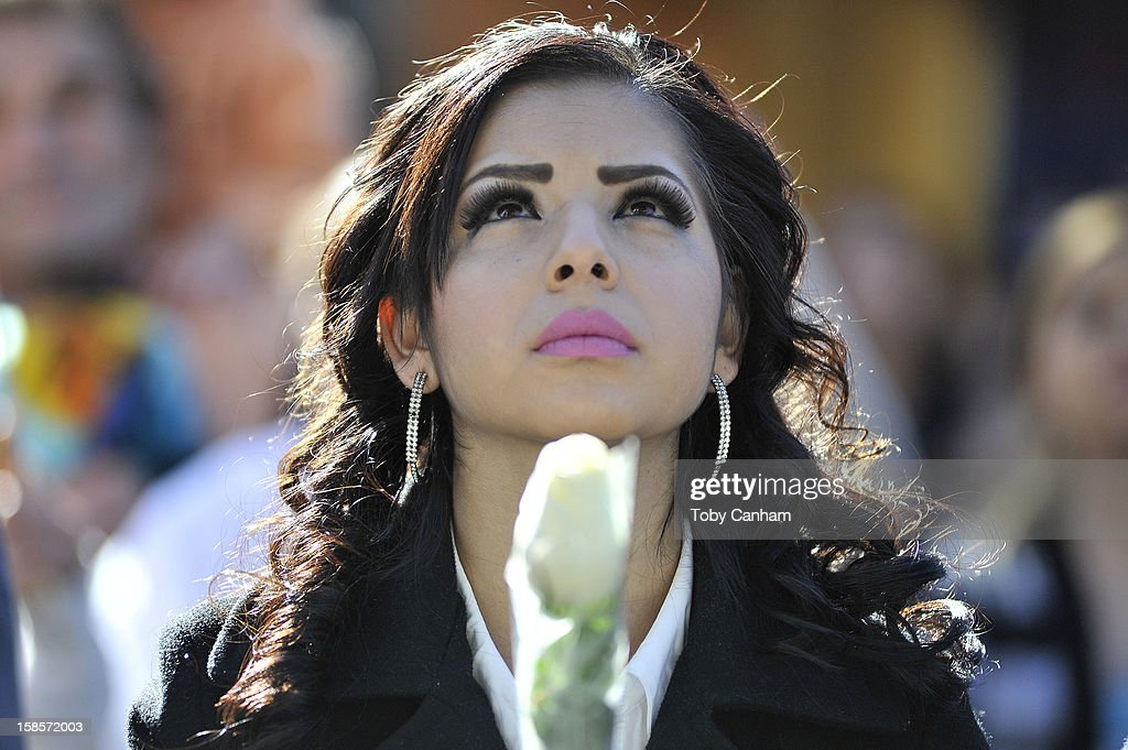 Ruby Solorio from Stockton,CA attends singer Jenni Rivera's memorial ceremony held at Gibson Amphitheatre on December 19, 2012 in Universal City, California.