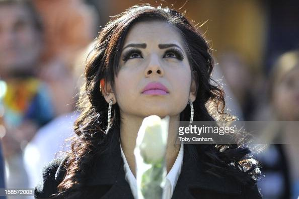 Ruby Solorio from StocktonCA attends singer Jenni Rivera's memorial ceremony held at Gibson Amphitheatre on December 19 2012 in Universal City...