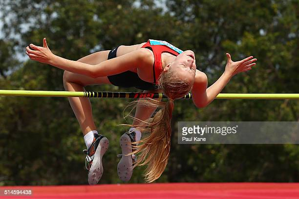 Ruby Sulicich of South Australia competes in the Women's High Jump u18 event during the Australian Junior Athletics Championships at the WA Athletics...