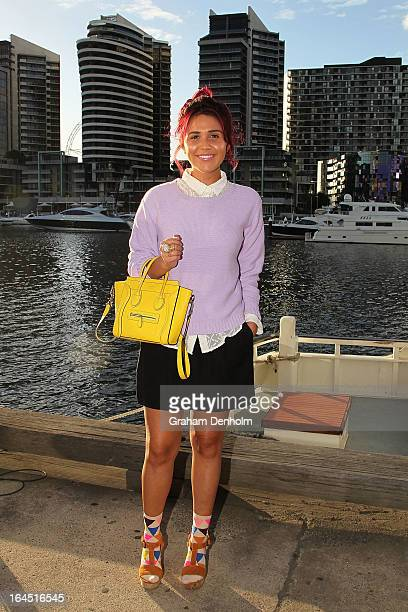 Ruby Wall wears a shirt jumper skirt shoes and socks by Gorman bag by Celine and a ring by YSL on day seven at L'Oreal Melbourne Fashion Festival on...