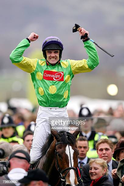 Ruby Walsh celebrates after riding Kauto Star to victory in The totesport Cheltenham Gold Cup Steeple Chase on the final day of The Annual National...