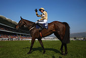 Ruby Walsh celebrates as he rides Black Hercules to victory in the JLT Novices' Chase on day three St Patrick's Thursday of the Cheltenham Festival...