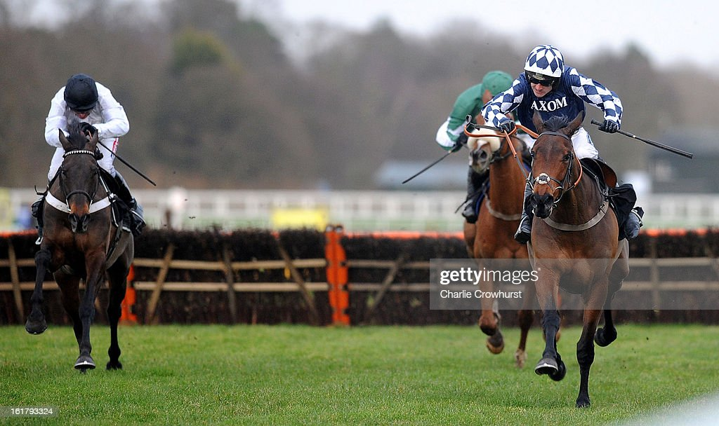 <a gi-track='captionPersonalityLinkClicked' href=/galleries/search?phrase=Ruby+Walsh&family=editorial&specificpeople=171838 ng-click='$event.stopPropagation()'>Ruby Walsh</a> rides Far West to the win in The IronSpine Charity Challenge Novices Hurdle Race at Ascot racecourse on February 16, 2013 in Ascot, England.