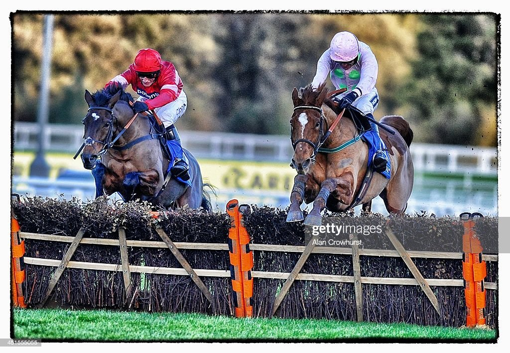 Ruby Walsh riding Annie Power (R) clear the last to win The Coral Hurdle Race from Zarkandar (L) at Ascot racecourse on November 23, 2013 in Ascot, England.