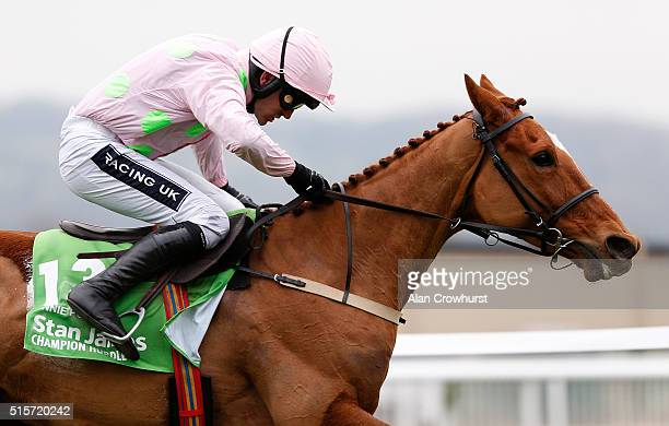 Ruby Walsh riding Annie Power clear the last to win The Stan James Champion Hurdle Challenge trophy at Cheltenham racecourse on March 15 2016 in...