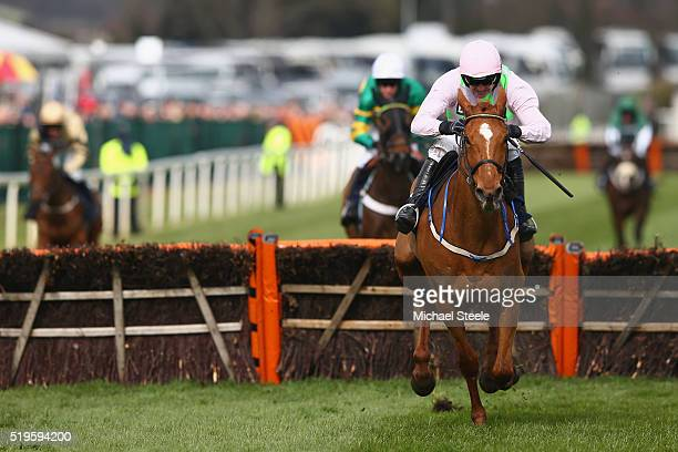 Ruby Walsh riding Annie Power clears the last to win the Doom Bar Aintree hurdle race at Aintree Racecourse on April 7 2016 in Liverpool England