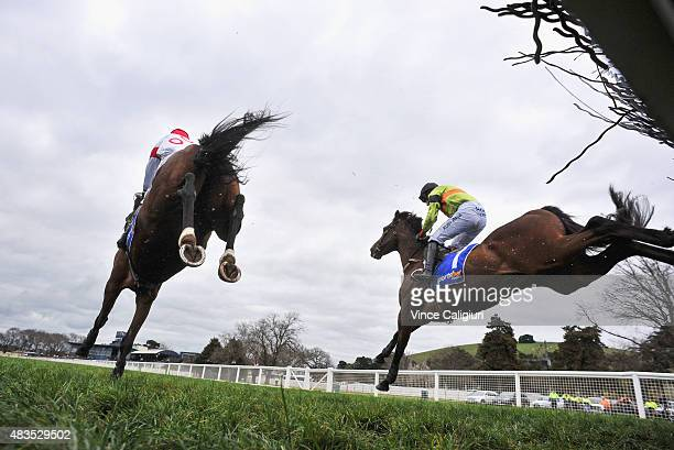 Ruby Walsh riding Bashboy and Richard Eynon riding Thubiann jumping the last hurdle before Bashboy went on to win Race 4 The Ecycle Grand National...
