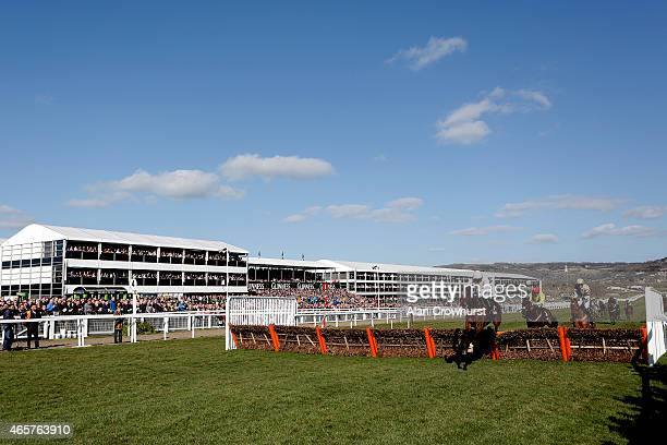 Ruby Walsh riding Douvan clear the last to win The Sky Bet Supreme Novices' Hurdle Race at Cheltenham racecourse on March 10 2015 in Cheltenham...