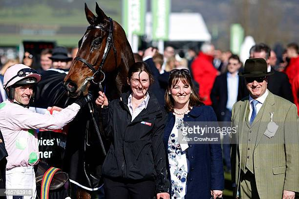 Ruby Walsh riding Douvan win The Sky Bet Supreme Novices' Hurdle Race with owner Rich Ricci at Cheltenham racecourse on March 10 2015 in Cheltenham...