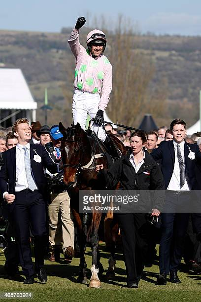 Ruby Walsh riding Douvan win The Sky Bet Supreme Novices' Hurdle Race at Cheltenham racecourse on March 10 2015 in Cheltenham England