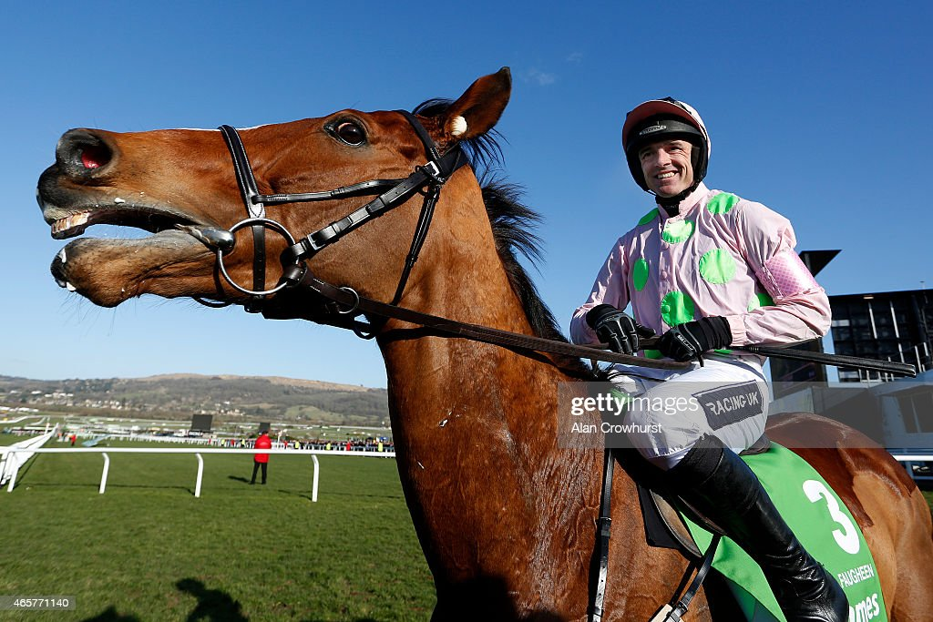 Ruby Walsh riding Faugheen wins The Stan James Champion Hurdle at Cheltenham racecourse on March 10 2015 in Cheltenham England