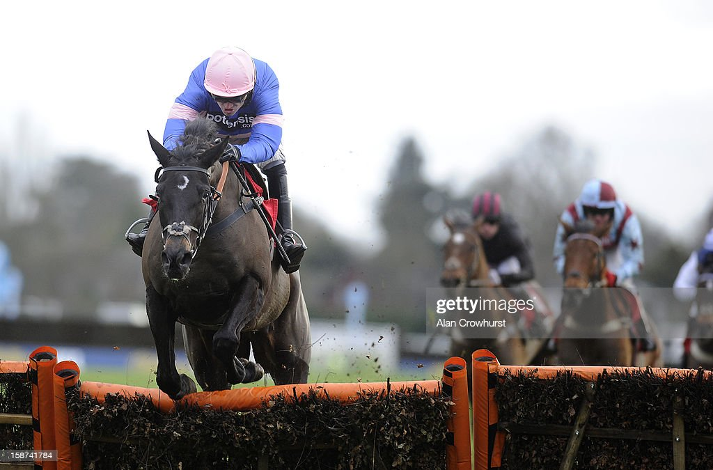 <a gi-track='captionPersonalityLinkClicked' href=/galleries/search?phrase=Ruby+Walsh&family=editorial&specificpeople=171838 ng-click='$event.stopPropagation()'>Ruby Walsh</a> riding Irish Saint clear the last to win The William Hill - ipad App Now Available Juvenile Hurdle Race at Kempton racecourse on December 27, 2012 in Sunbury, England.