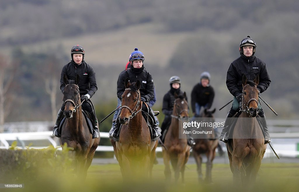 Ruby Walsh riding Quevega (R) and Paul Townend riding Hurricane Fly (2,L) walk round the gallops at Cheltenham racecourse on March 11, 2013 in Cheltenham, England.