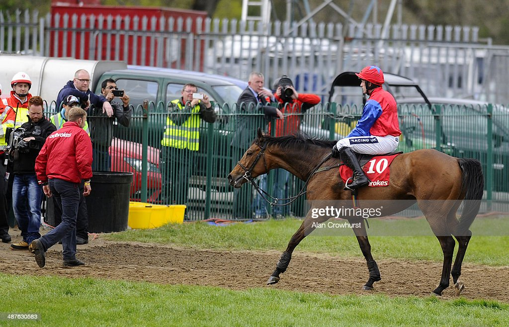 Ruby Walsh riding Quevega make a lonely walk back after finishing second in The Ladbrokes World Series Hurdle at Punchestown racecourse on May 01, 2014 in Naas, Ireland.