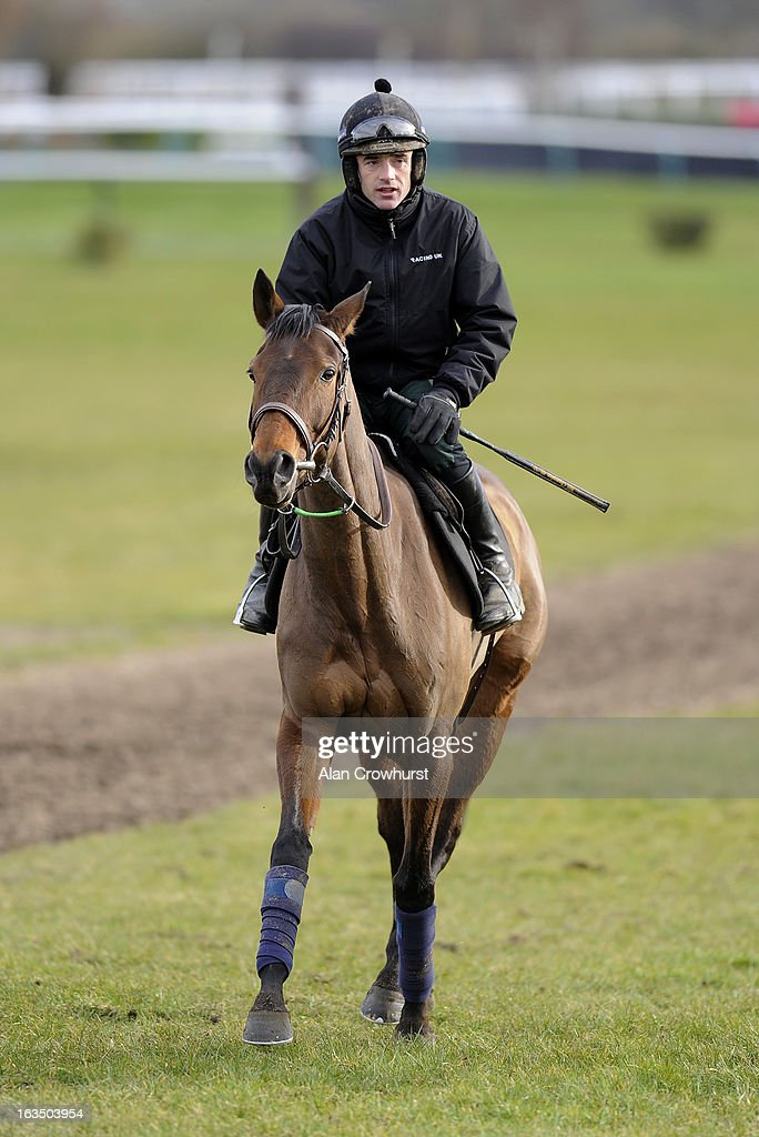 Ruby Walsh riding Quevega walk round the gallops at Cheltenham racecourse on March 11, 2013 in Cheltenham, England.