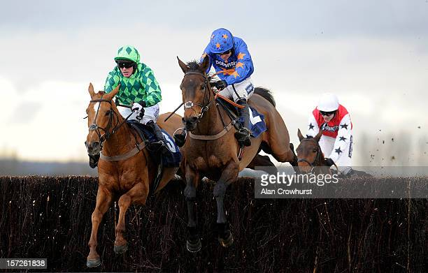 Ruby Walsh riding Rolling Aces clear the last to win The frootfalcouk Sure Bet For Cashback Novices' Handicap Steeple Chase at Newbury racecourse on...