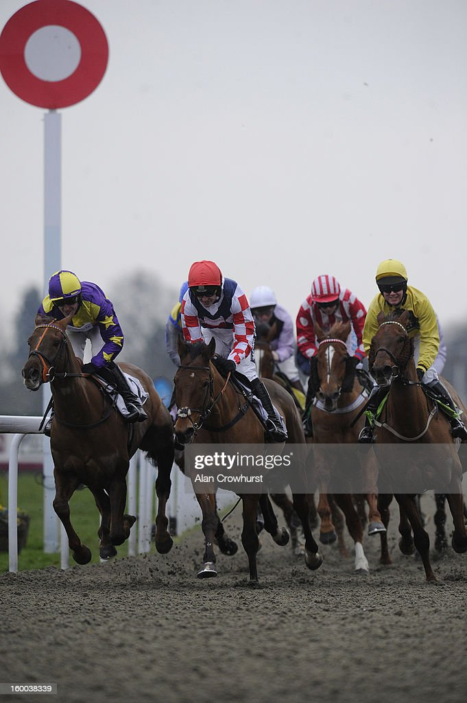 <a gi-track='captionPersonalityLinkClicked' href=/galleries/search?phrase=Ruby+Walsh&family=editorial&specificpeople=171838 ng-click='$event.stopPropagation()'>Ruby Walsh</a> riding Sam Winner (C, red cap) win The BetVictor Non Runner Free Bet Cheltenham 'Jumpers' Bumpers' National Hunt Flat Race at Kempton racecourse on January 25, 2013 in Sunbury, England.